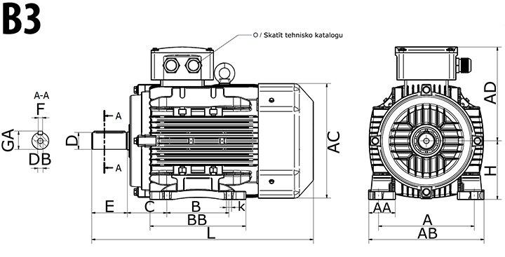 MOLL Elektromotora specifikācija rasējums